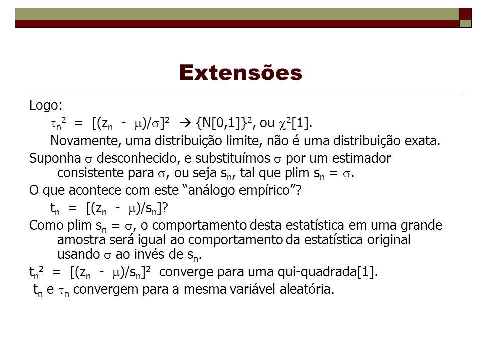 Extensões Logo: n2 = [(zn - )/]2  {N[0,1]}2, ou 2[1].